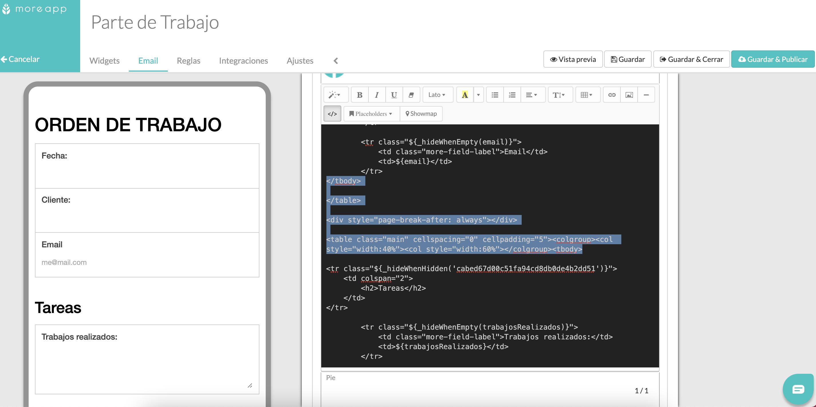 Código HTML salto de página PDF MoreApp