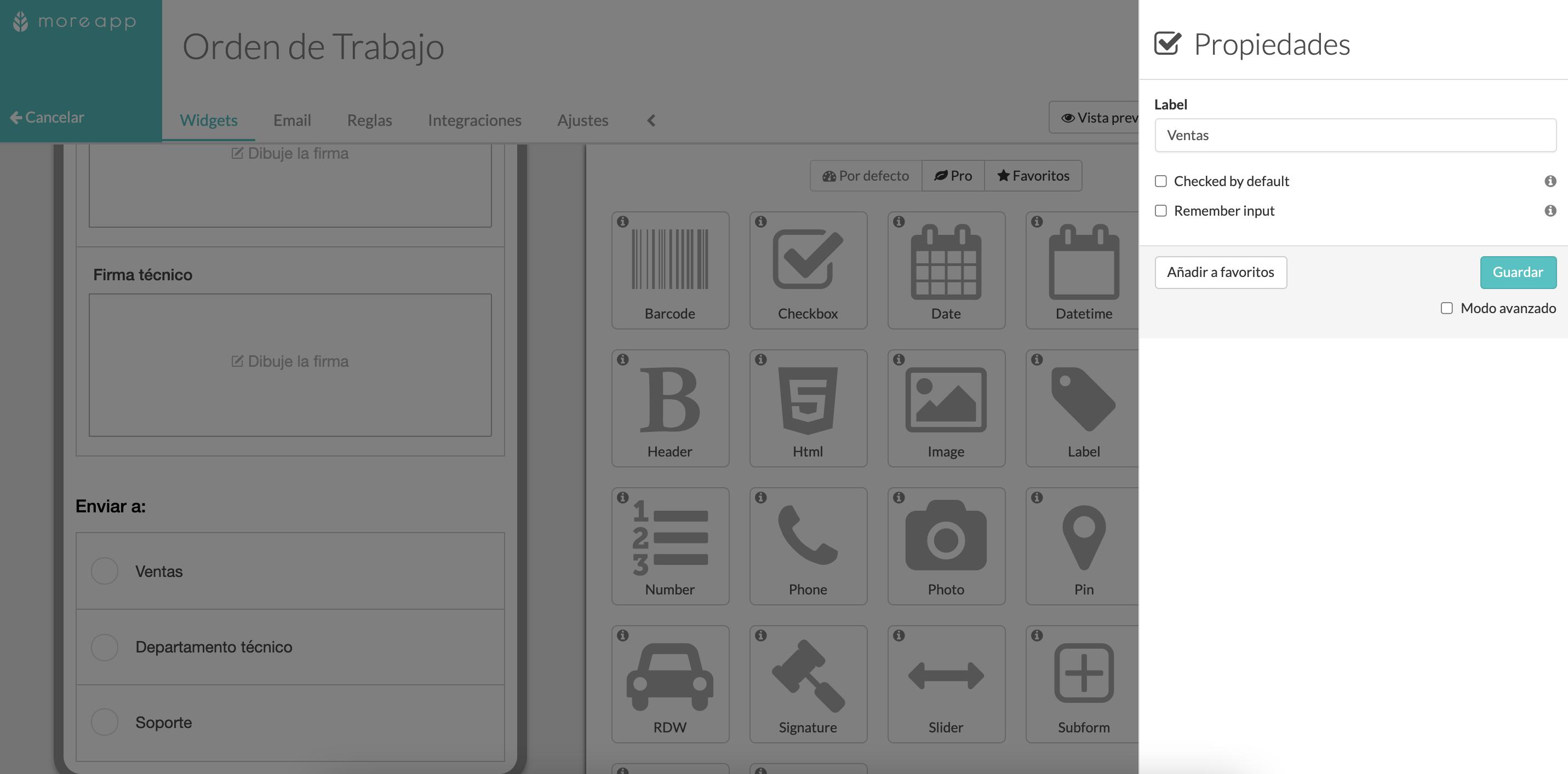 Widgets Checkbox en tus formularios MoreApp