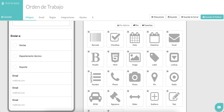 Widgets Email formularios MoreApp