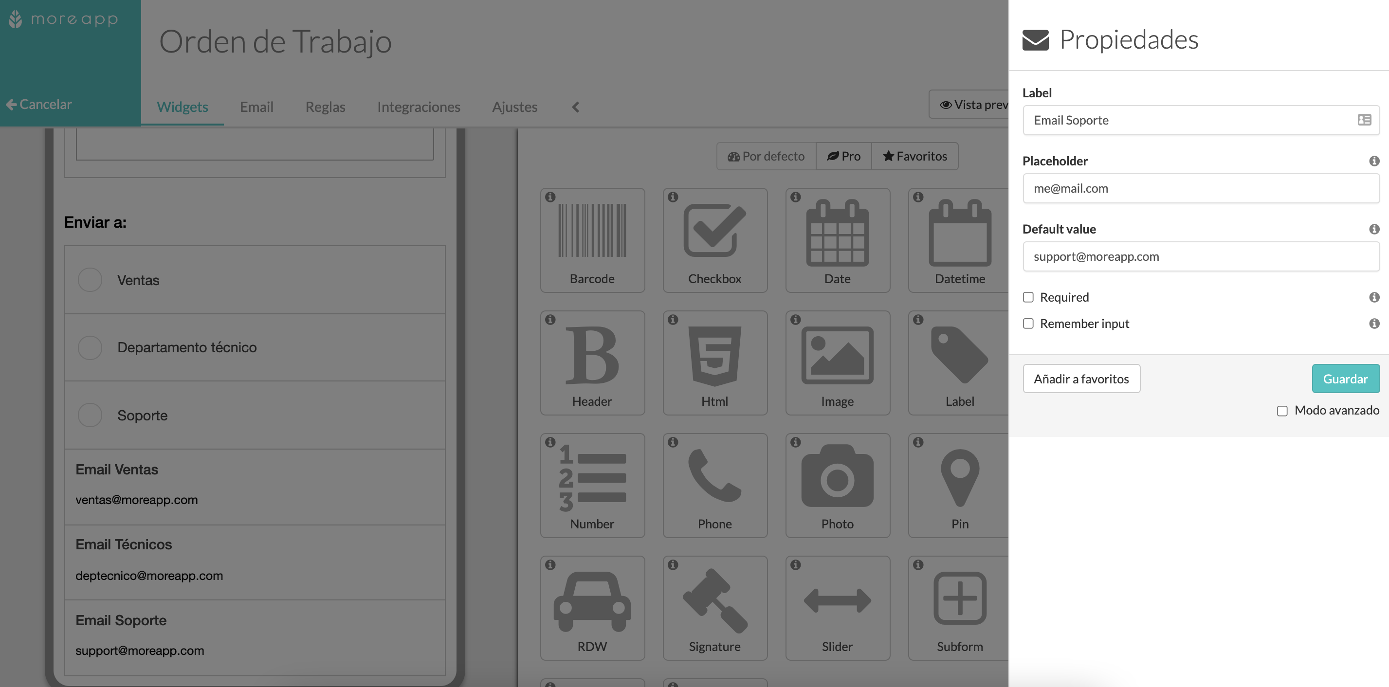 Configura tus widgets Email en MoreApp