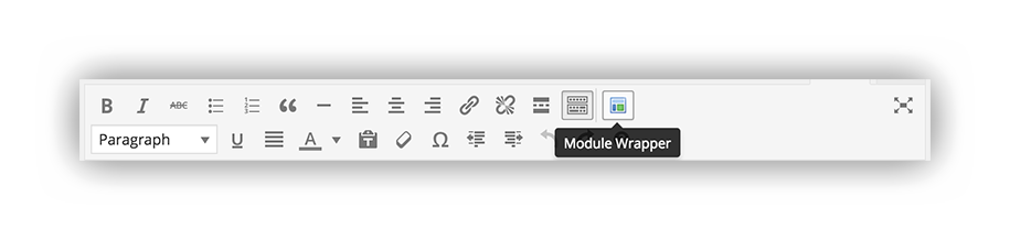 Module Wrapper in the WordPress article post toolbar