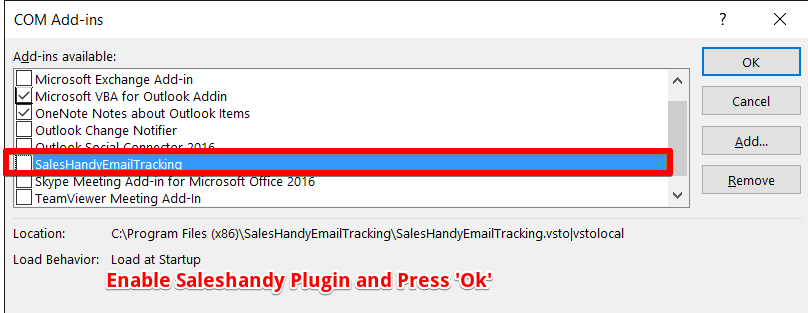 Why is the SalesHandy Add-in not showing in outlook even though it