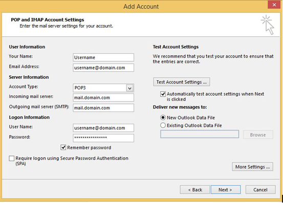 How to setup email account in Microsoft Outlook 2016