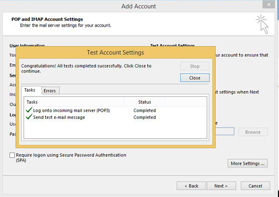 How to setup pop3 account in Microsoft Outlook 2016