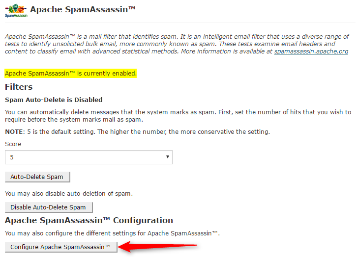 Protect from Spam using Spam-Assassin - Control Panel ...