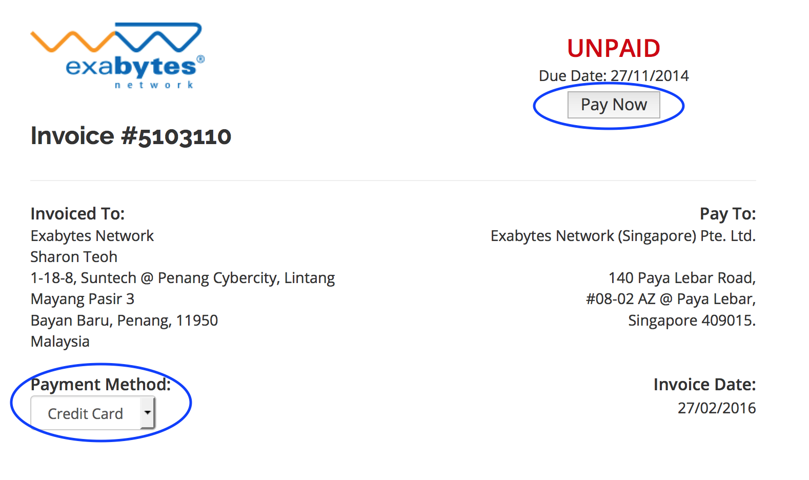 SG Payment Method ExabytesSG Singapore Support Portal - Invoice with bank details