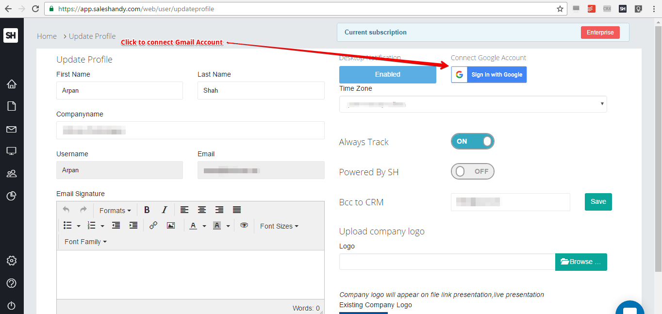 How to Connect Gmail account with SalesHandy : Saleshandy