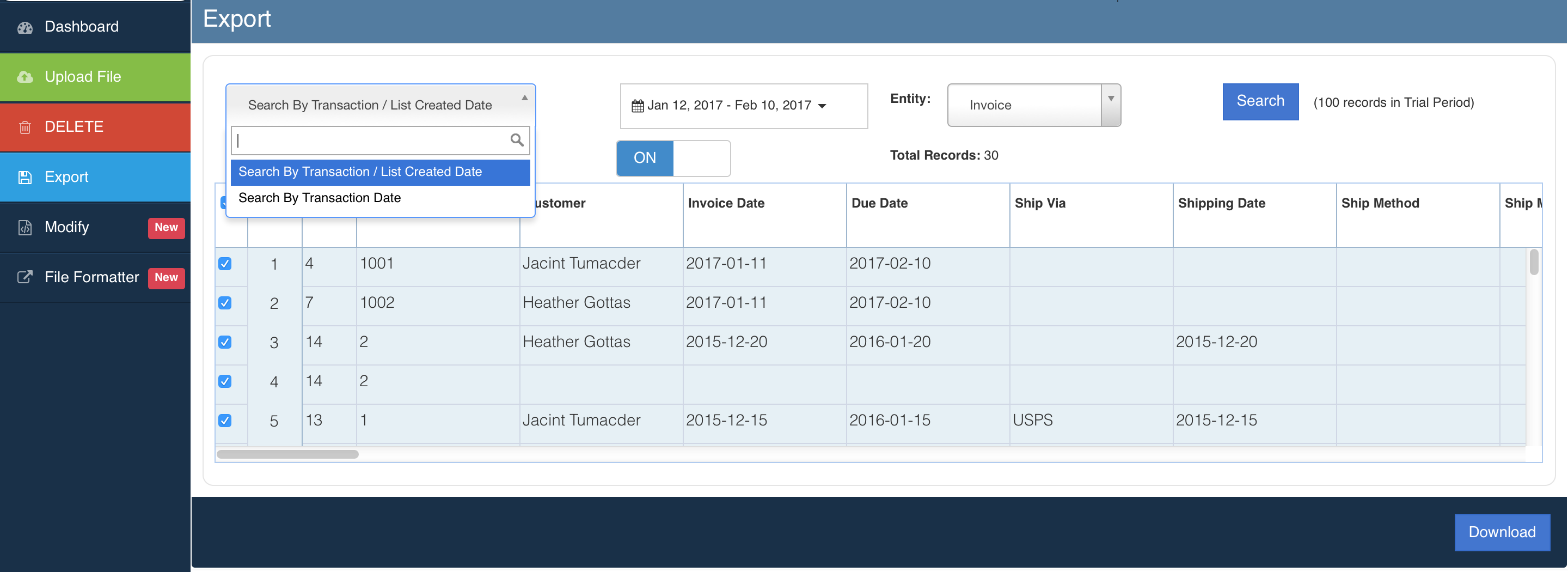 Export Transactions Using Excel Transactions SaasAnt - How to export invoices from quickbooks to excel for service business