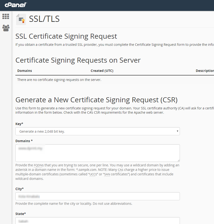 Generate csr key using ssltls manager in cpanel exabytes click ok generate to generate the csr key yadclub Image collections