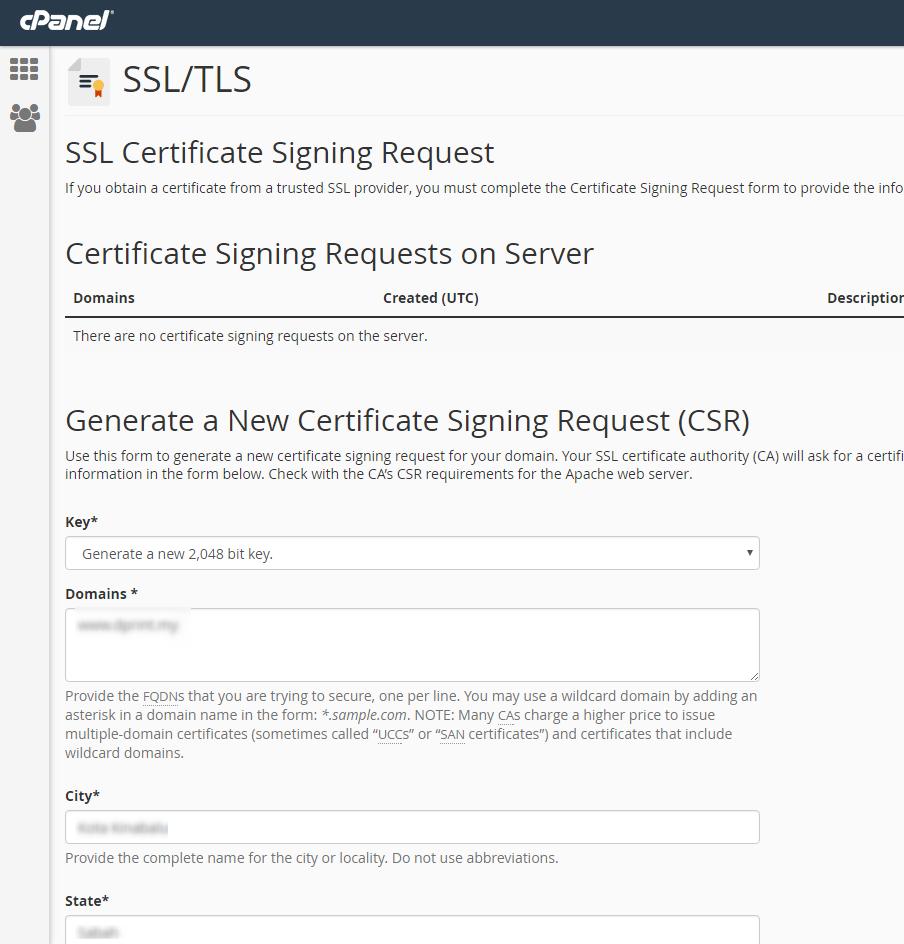 Generate Csr Key Using Ssltls Manager In Cpanel Exabytes