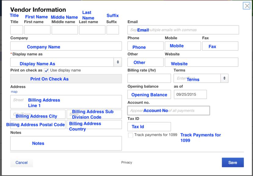 Import Vendors List into QuickBooks Online