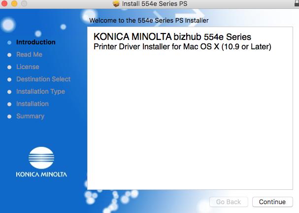 Installing the Konica Minolta Printer Driver on a Macintosh : UA