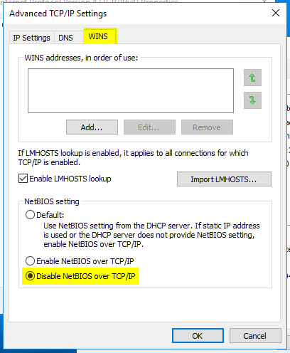 Disable NetBIOS over TCP/IP support : Exabytes my (Malaysia