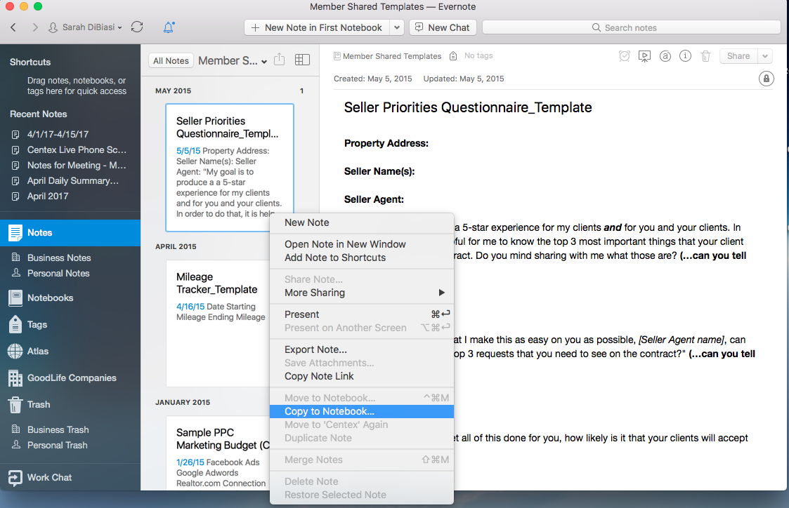 How To Copy The Paperless Agent Templates In Evernote The