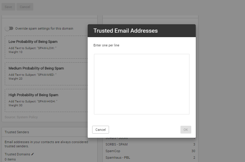 trusted email addresses