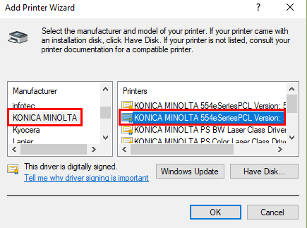 Adding the M401 and ENR2 Konica Printers to a Windows
