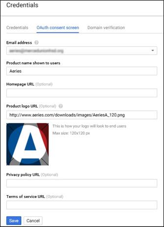 Configure Authentication Credentials in Google API Console : Aeries