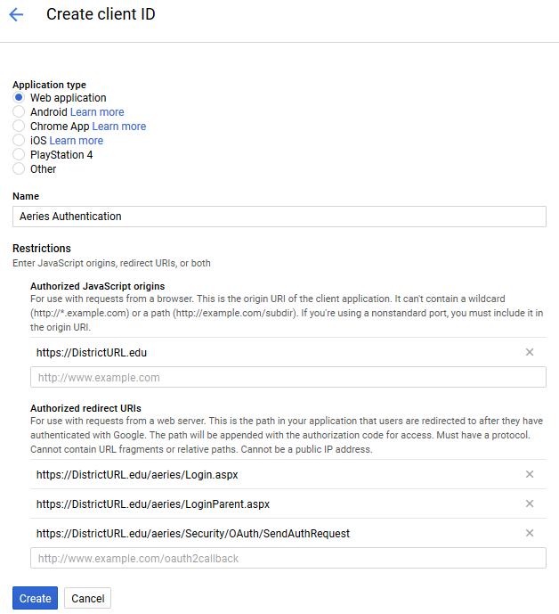 Configure Authentication Credentials in Google API Console