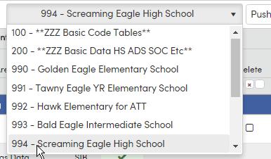 School List Drop down