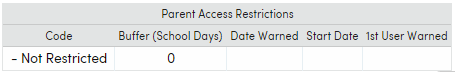 Secondary Student Data form Access Restrictions area