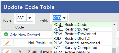 Adding Restricted Code to Update Code Table form