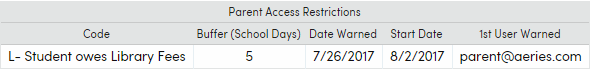 Parent restriction in Secondary Student Data form showing warning date and start date