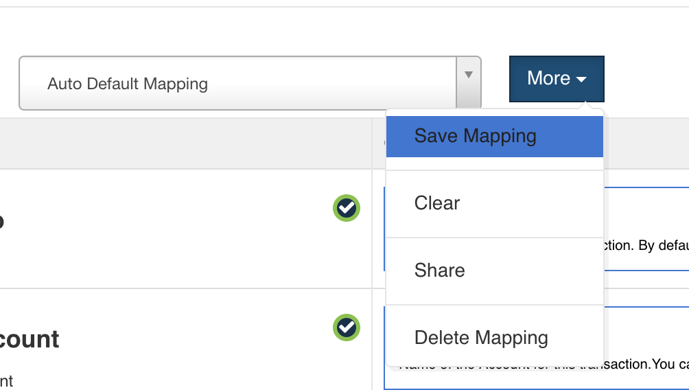saved mappings in quickbooks