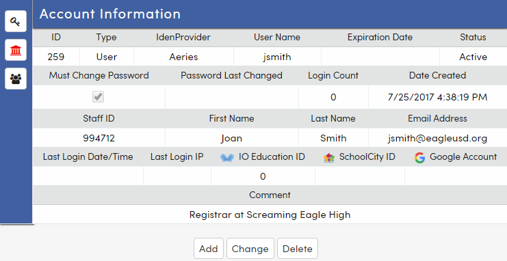 Permissions, School Access and Group icons