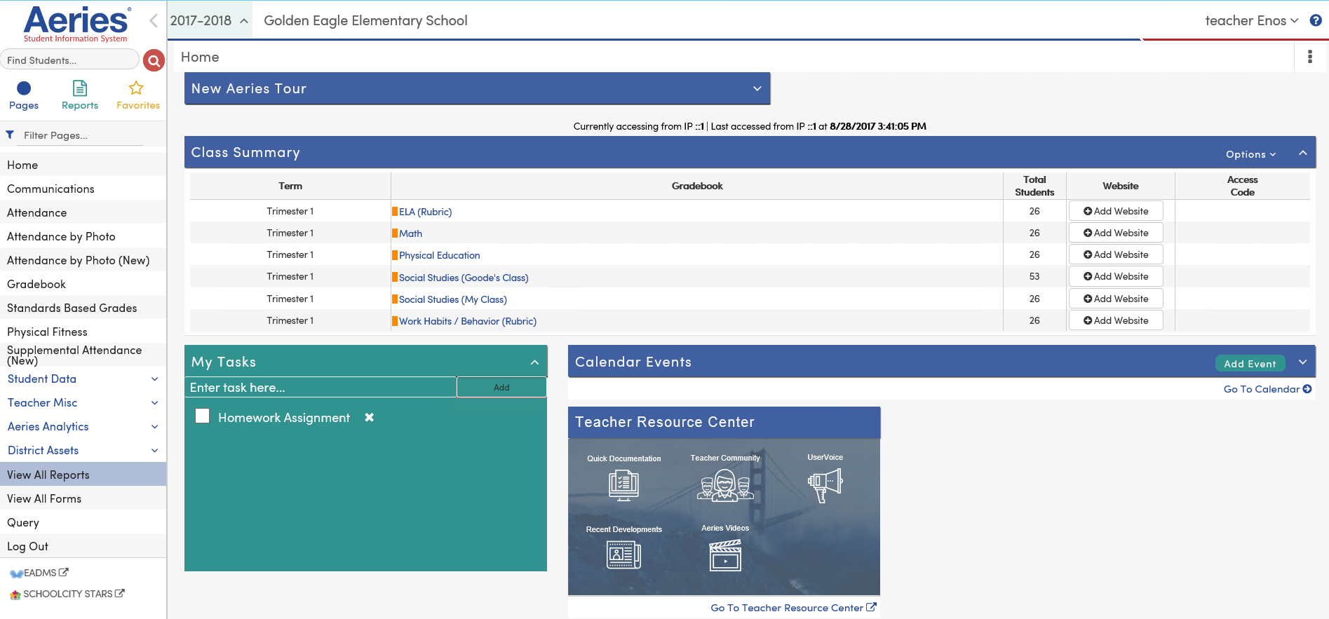 Intro to the Teacher Portal : Aeries Software