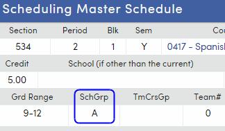 SchGrp field on Scheduling Master