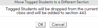 Move Tagged Students confirmation popup