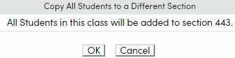 Copy All Students confirmation popup