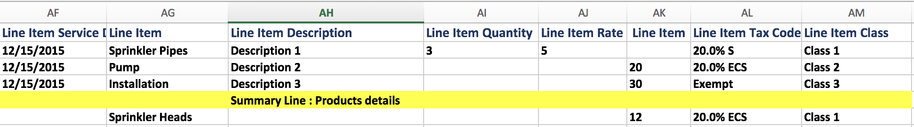 import Summary Lines in Sales Transactions