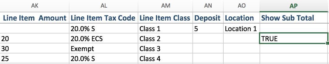 import Sub Total Lines in quickbooks