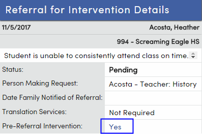 Referrals to Intervention : Aeries Software