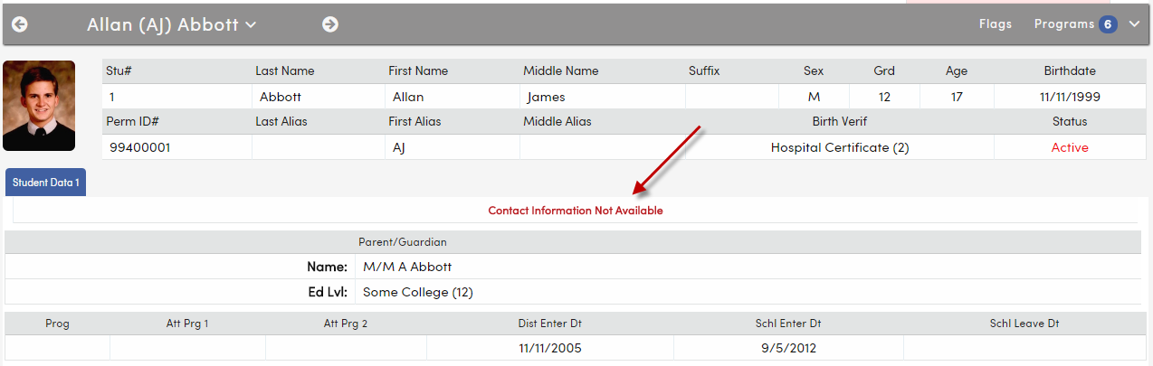 Student Demographic page with Contact Information hidden