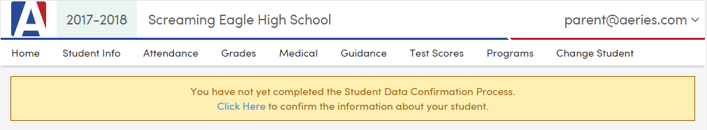 picture of data confirmation bar