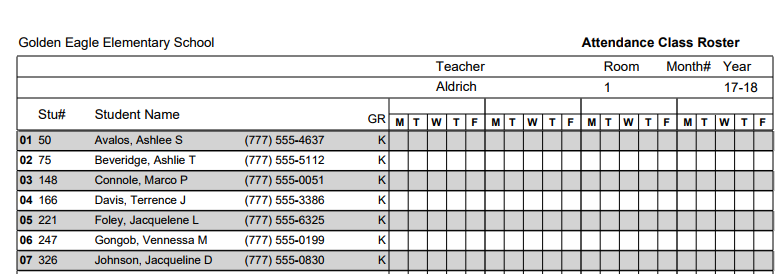 The Following Is An Example Of A Class Roster Report Printed With Shading.
