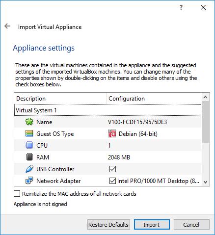 Install V100 on VirtualBox : Morro Data - Support Center