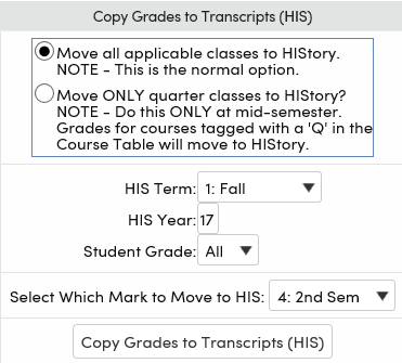 Grade reporting copy grades to grade history and transcripts the course history his table records will print on a students transcript click the mouse on the copy grades to transcripts link altavistaventures Images