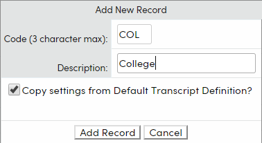 Add Transcript Definition Record options