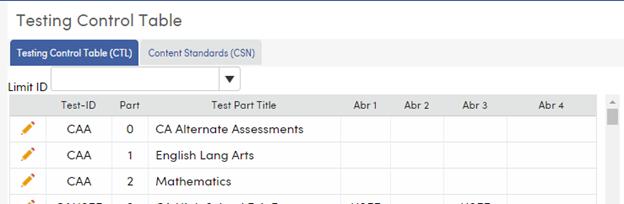 Testing Control Table CTL tab