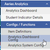 Menu for Analytics Dashboard Config screenshot