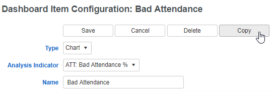 Dashboard Item Configuration: Bad Attendance screenshot