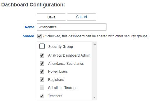Dashboard configuration screenshot