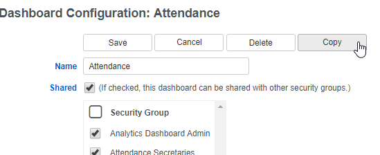 Dashboard Configuration: Attendance screenshot