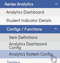 Analytics System Config Menu screenshot