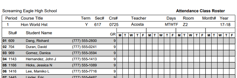 Example Class roster with no dates, Attendance month 0