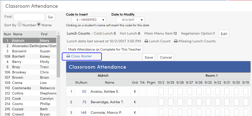 classroom attendance for daily attendance schools aeries software