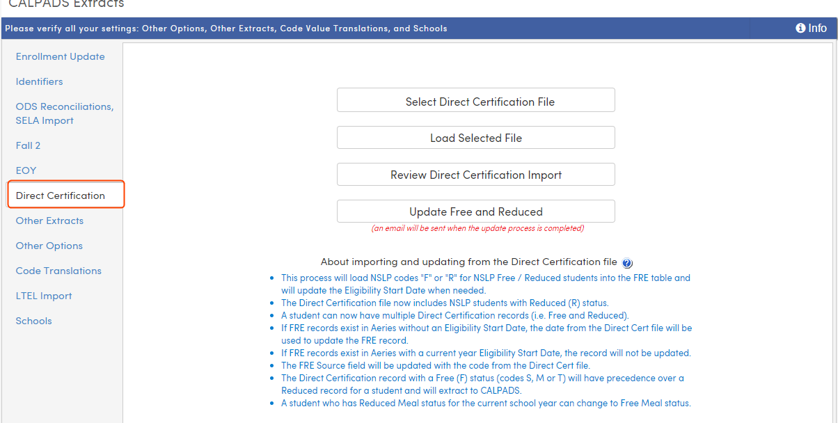 CALPADS Extracts - Direct Certification Tab : Aeries Software